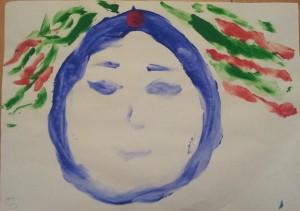 Рисунок выполнен левой рукой при работе с маслом пачули
